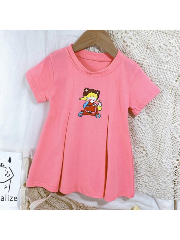【18M-7Y】Cute Cartoon Print Round Neck Short Sleeve Dress