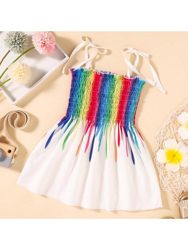 【6M-4Y】Cute Colorful Striped Print Sling Dress