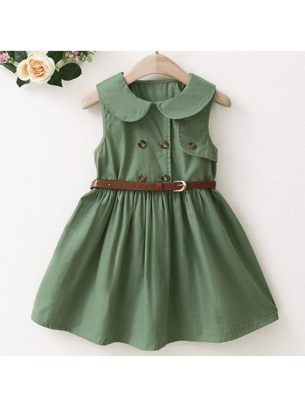 【18M-7Y】Girls Sweet Green Lapel Sleeveless Dress - 33121