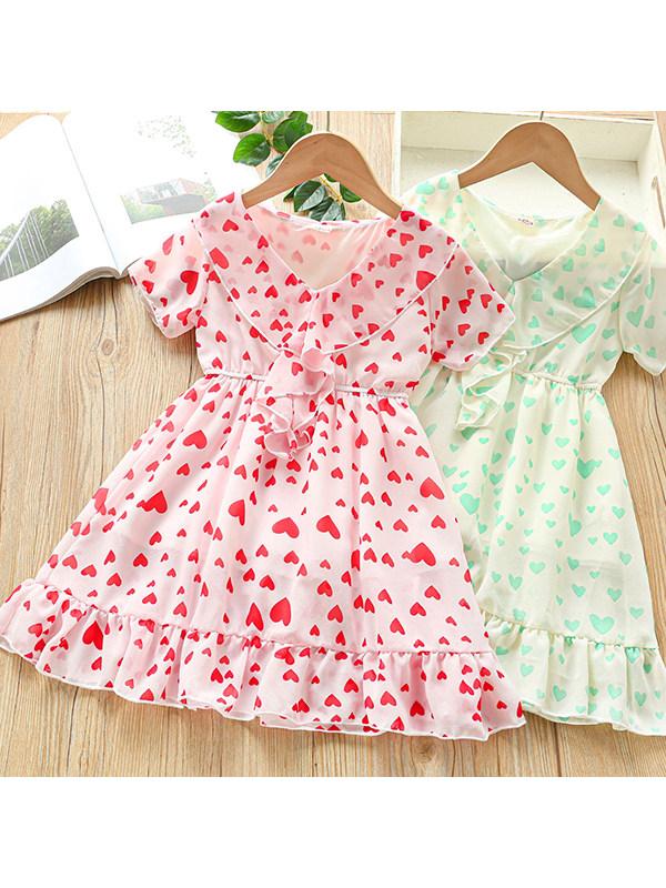 【3Y-13Y】Girls Lotus Leaf V-neck Short-sleeved Chiffon Dress
