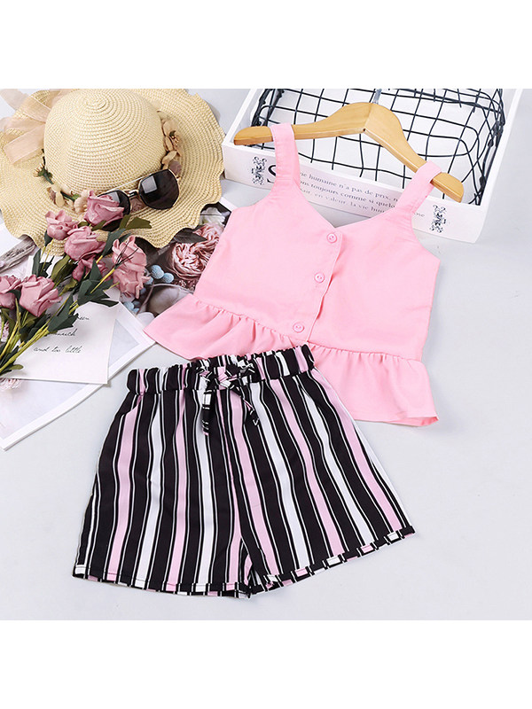 【18M-7Y】Girls Camisole Striped Shorts Suit