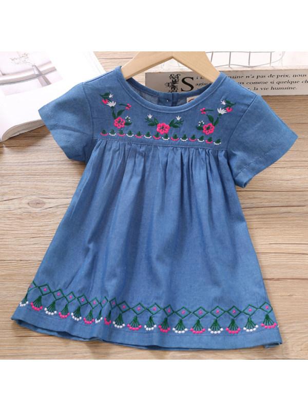 【18M-7Y】Girls Sweet Denim Embroidered Short Sleeve Dress