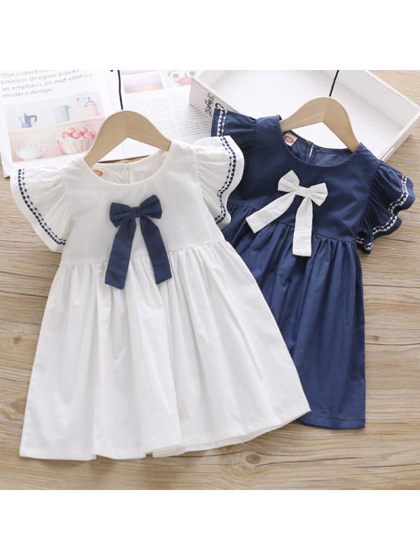 【18M-7Y】Girls Sweet Bow Short Sleeve Dress