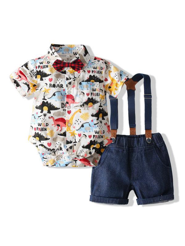 【6M-3Y】Summer Gentleman Dinosaur Romper Shirt Jeans Set