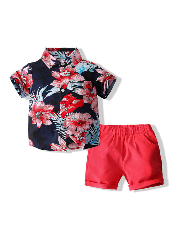 【18M-7Y】Summer Floral Shirt Shorts Casual Suit