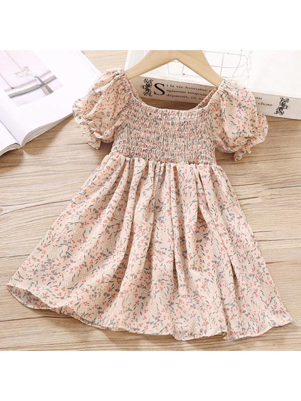 【2Y-9Y】Girls Sweet Apricot Flower Short Sleeve Dress