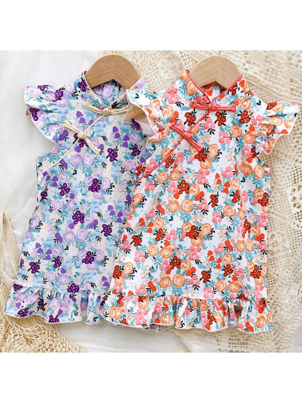 【12M-7Y】Sweet Fruit Printed Little Flying Sleeve Dress