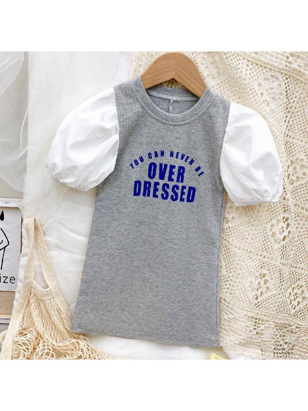 【18M-9Y】Cute Letter Print Puff Sleeve Gray Dress