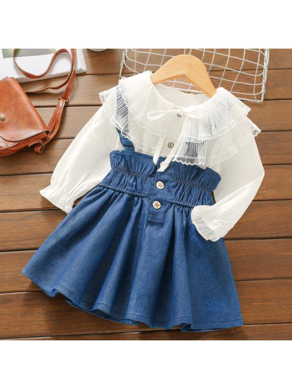 【18M-7Y】Girls Sweet Long-sleeved Shirt Denim Strap Skirt Set