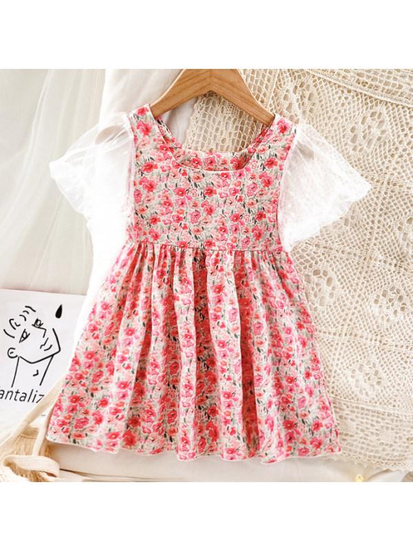 【18M-7Y】Sweet White Mesh Sleeve Flower Dress