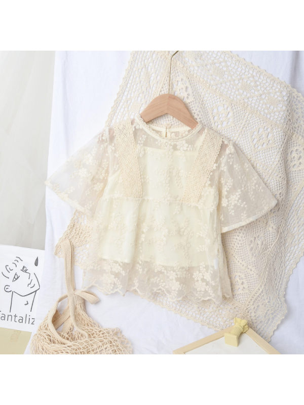 【18M-9Y】Girls Sweet Lace Top and Jeans (Top Bottom Sold Separately) - 3466