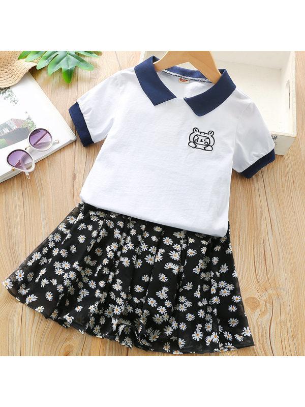 【18M-7Y】Girls Sweet Lapel T-shirt Floral Short Skirt Set