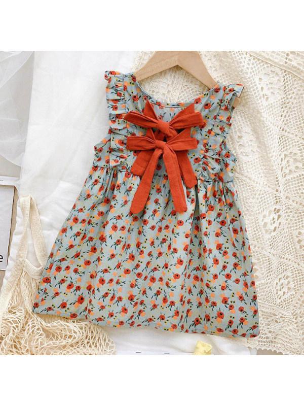 【12M-9Y】Sweet Flower Printed Little Flying Sleeve Dress
