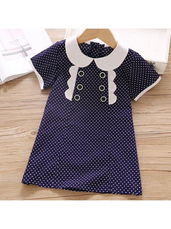 【18M-7Y】Girls Sweet Navy Blue Polka Dot Short Sleeve Dress