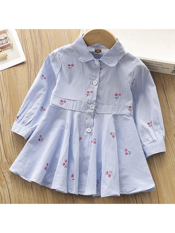 【18M-7Y】Girls Sweet Blue Striped Long Sleeve Dress