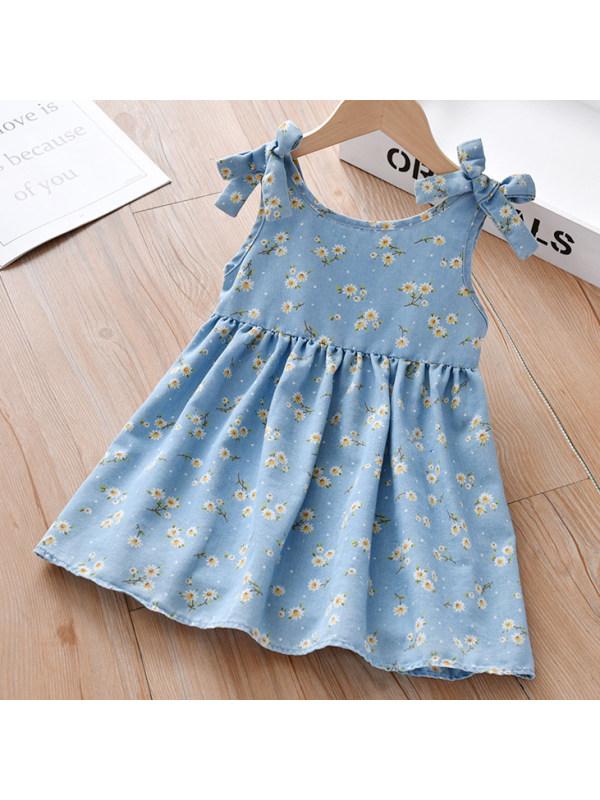 【18M-7Y】Sweet Floral Print Blue Denim Dress
