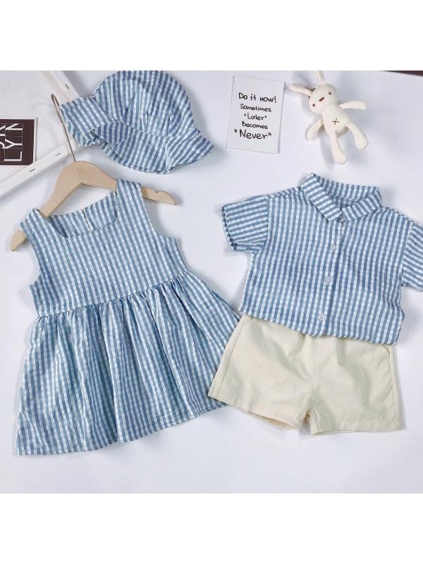 【12M-7Y】Fashion Blue Plaid Dress and Shirt Shorts Set