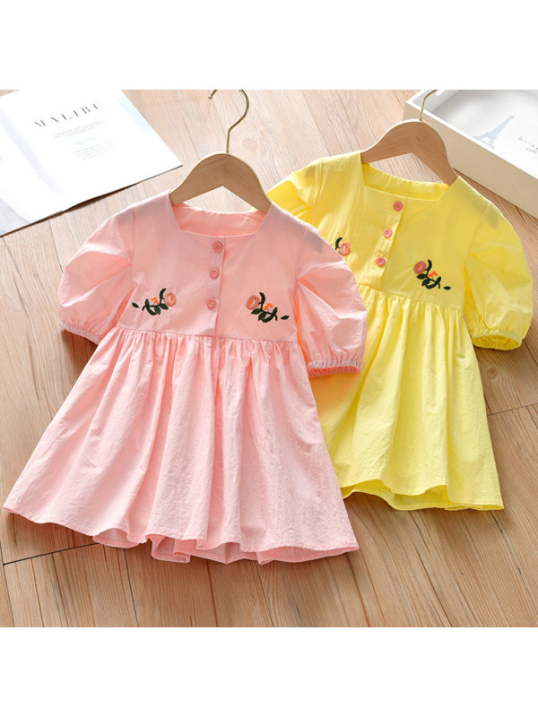 【18M-9Y】Sweet Flower Embroidery Square Neck Puff Sleeve Dress