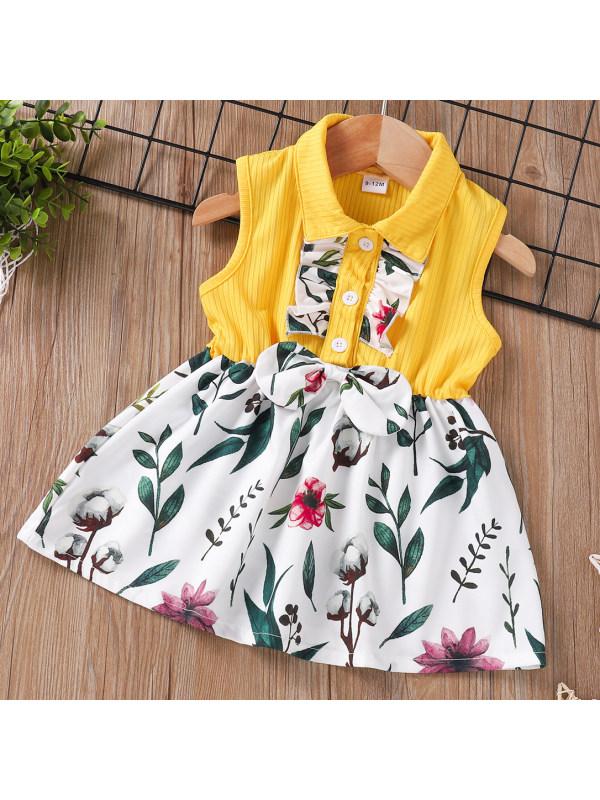 【0M-12M】Sweet Floral Print Sleeveless Dress