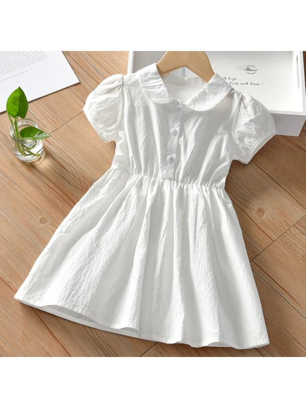 【18M-7Y】Girl Sweet White Lapel Short Sleeve Dress