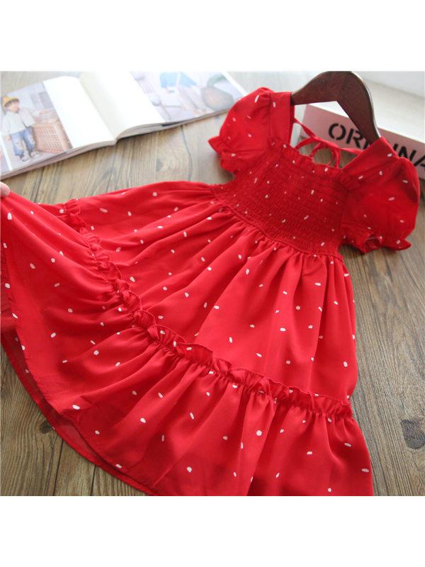 【2Y-9Y】Girl Sweet Red Puff Sleeve Dress