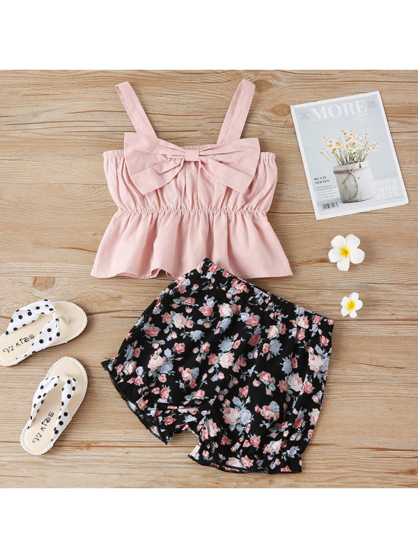 【18M-7Y】Sweet Bow Sling Top and Flower Shorts Set