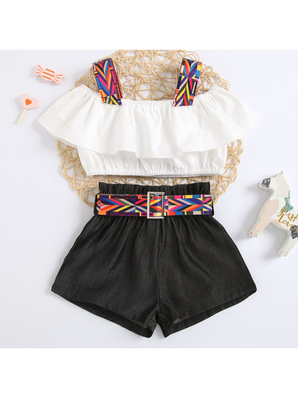 【18M-7Y】Sweet Ruffled Sling Top and Shorts Set