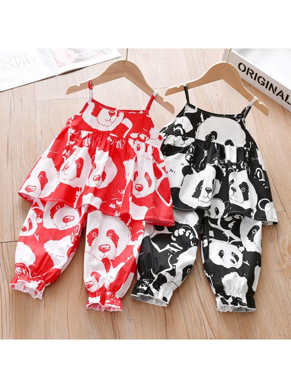 【18M-7Y】Cute Cartoon Panda Print Sling Top and Pants Set