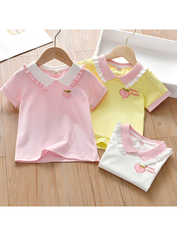 【18M-7Y】Girls Sweet Peach Embroidered Lapel Short Sleeve T-Shirt