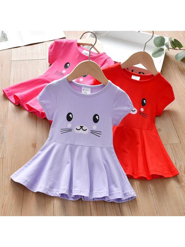 【18M-7Y】Girl Sweet Cartoon Pattern Short Sleeve Dress