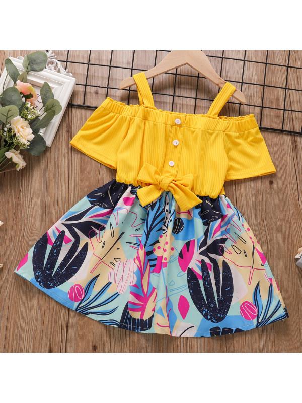 【18M-7Y】Sweet Floral Print Off The Shoulder Dress