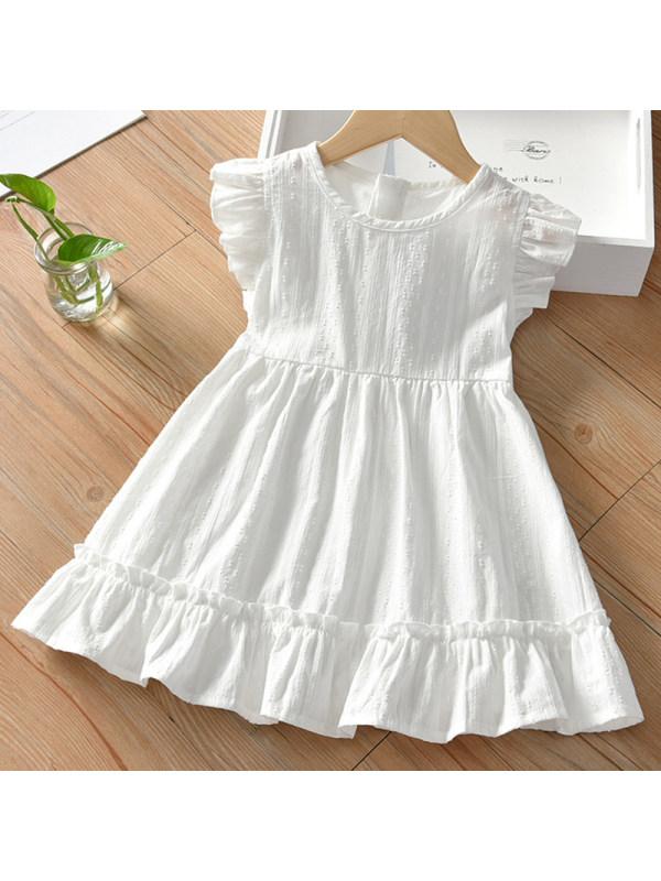【18M-7Y】Girl Sweet White Round Neck Short Sleeve Dress