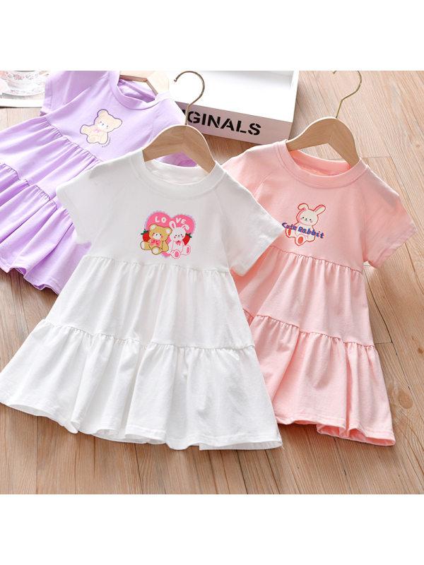 【18M-7Y】Cute Cartoon Print Round Neck Dress