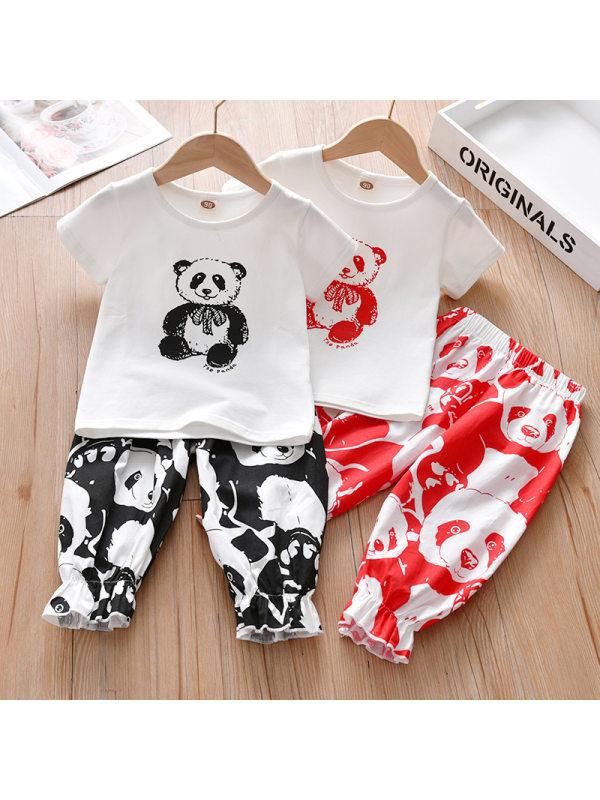 【18M-7Y】Cute Cartoon Panda Print T-shirt and Pants Set