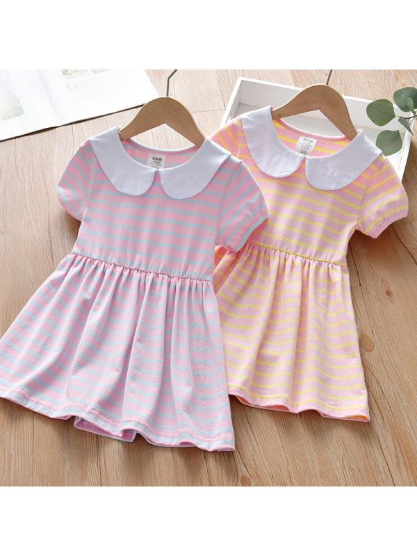 【18M-7Y】Girls Sweet Striped Lapel Short Sleeve Dress