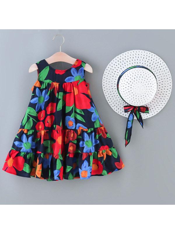 【18M-7Y】Sweet Flower Print Sleeveless Dress with Hat