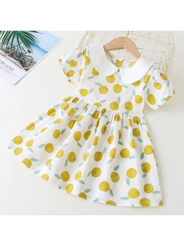 【18M-7Y】Sweet Fruit Print White Collar Dress
