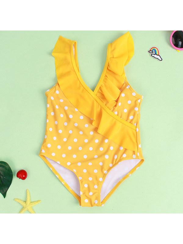 【18M-6Y】Girl Sweet Yellow Polka Dot Swimsuit