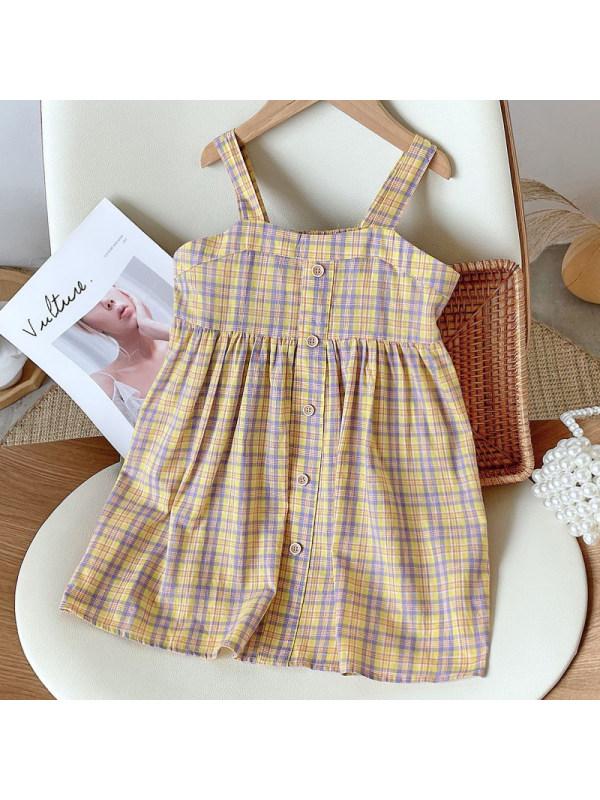 【18M-7Y】Girl Sweet Yellow Plaid Sling Dress