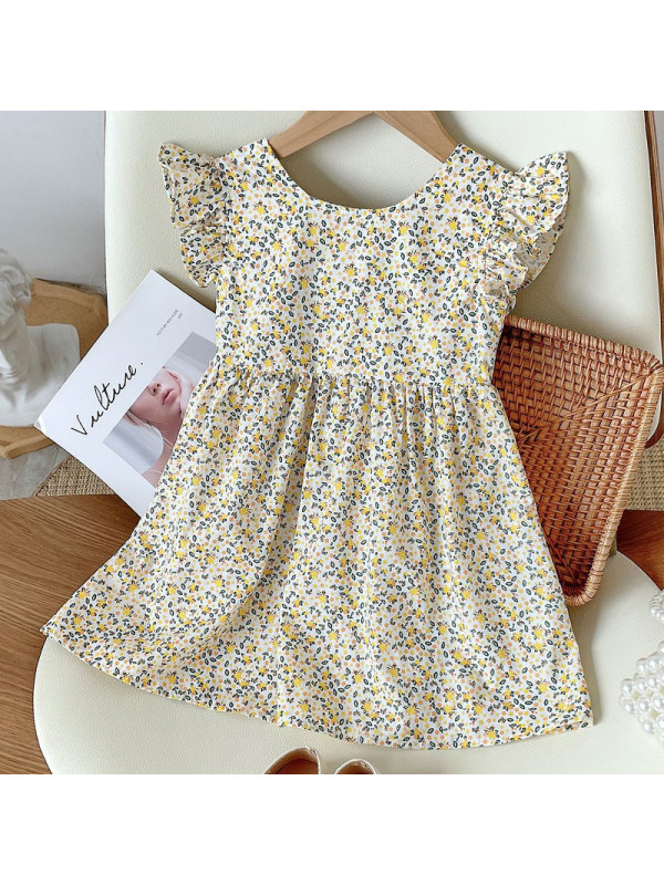 【18M-7Y】Girl Sweet Yellow Floral Backless Dress