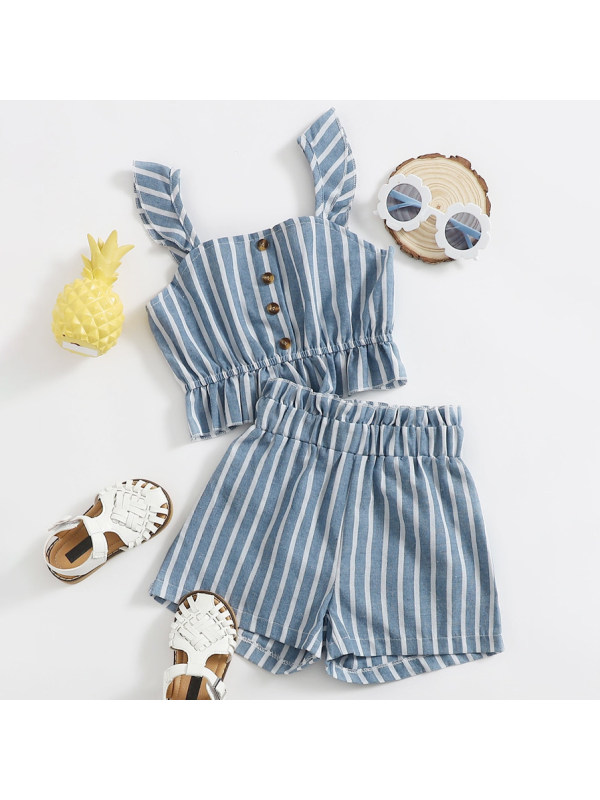 【18M-7Y】Sweet Striped Sling Top and Shorts Set