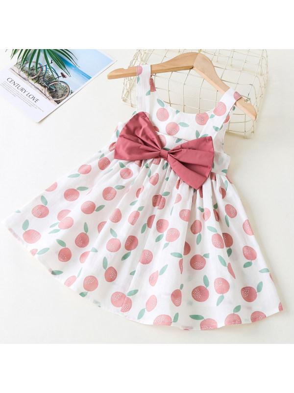 【18M-7Y】Sweet Bow Fruit Print Sleeveless Dress