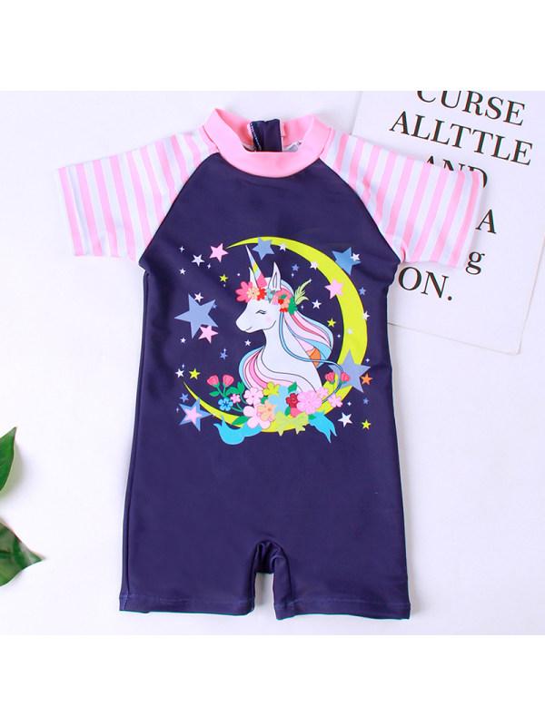 【18M-5Y】Girls Sweet Navy Blue Unicorn Swimsuit