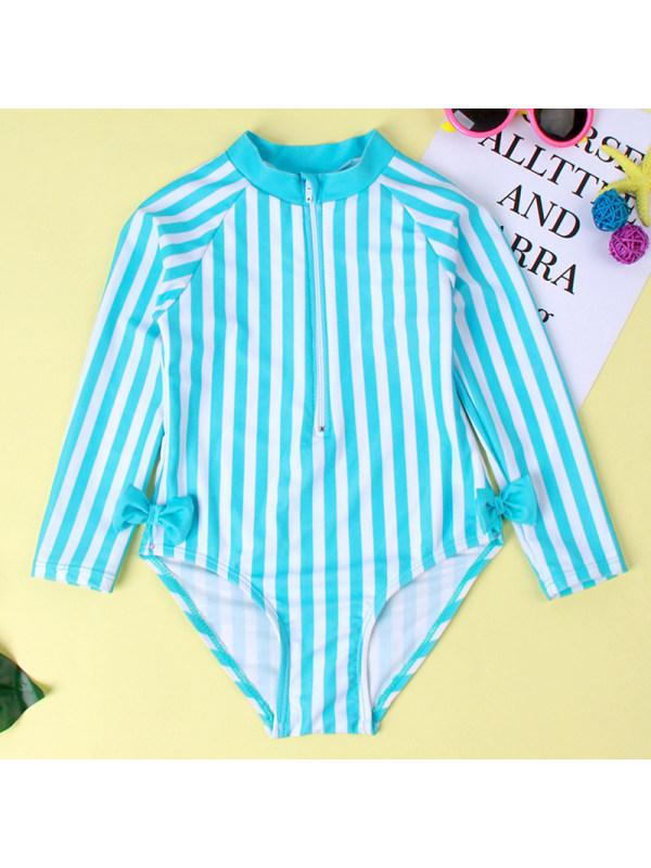 【18M-5Y】Girl Sweet Blue Striped Swimsuit