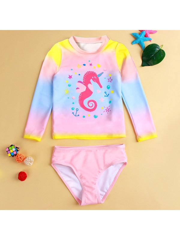 【18M-5Y】Girl Sweet Seahorse Pattern Swimsuit