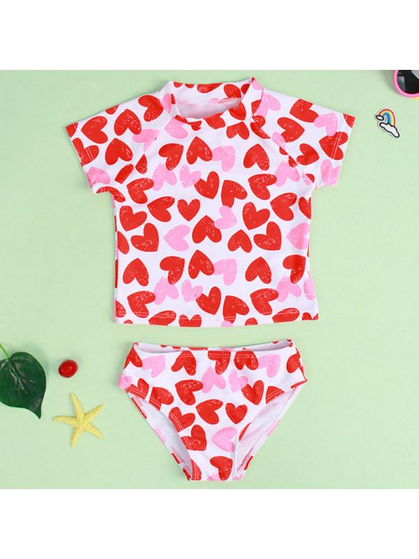 【18M-6Y】Girls Sweet Heart Shaped Pattern Split Swimsuit