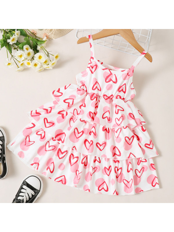 【18M-7Y】Lovely Red Heart-shaped Print Sling Dress