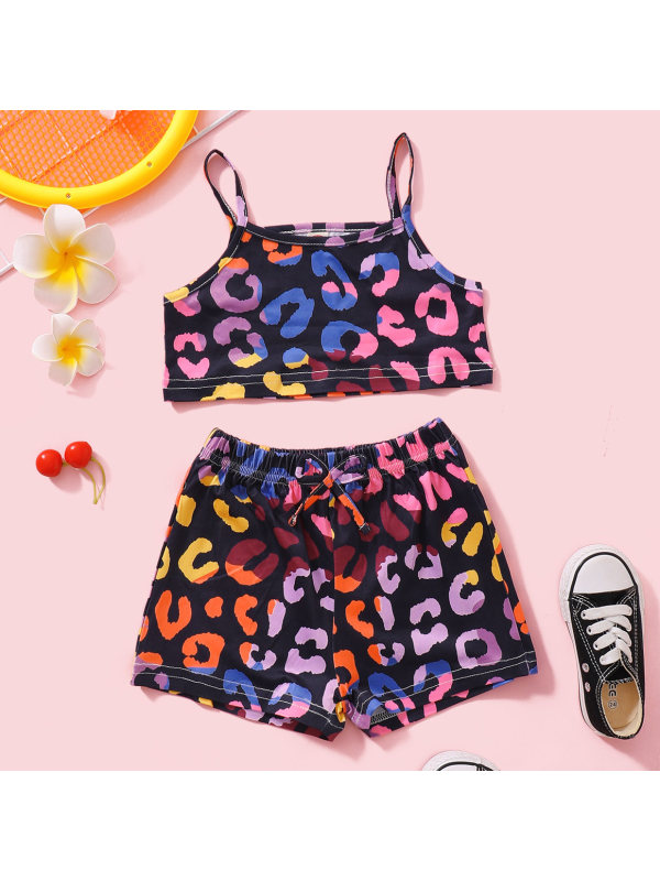 【18M-7Y】Sweet Leopard Print Top and Shorts Set