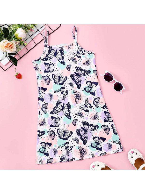 【18M-7Y】Sweet Purple Butterfly Print Sling Dress