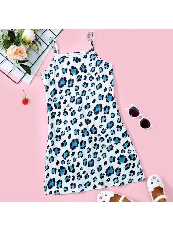 【18M-7Y】Sweet Blue Leopard Print Sling Dress